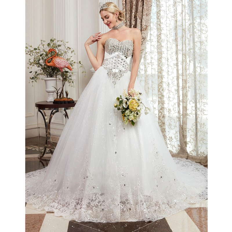 LAN TING BRIDE Ball Gown Strapless Chapel Train Satin Tulle Custom Wedding Dresses with Beading Appliques