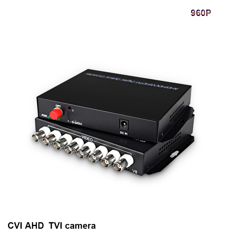 8 CH 960P HD video AHD CVI TVI Fiber optical converter Video FC Optical transmitter receiver Hikvision Dahua camera