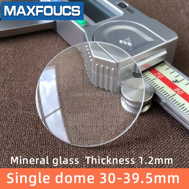 Single Dome 1.2mm Thick Diameter 30mm ~39.5mm Watch Glass Mineral Glass Transparent Watch Accessories Crystal , 1Pieces