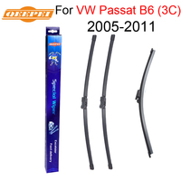 QEEPEI Front and Rear Wiper Blade no Arm For VW Passat B6 (3C) 2005 2011 High quality Natural Rubber windscreen 24''+19''