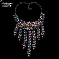 Dvacaman Brand 2017 Luxury Crystal Necklace Pendant Rhinestone Tassel Party Statement Collar Jewelry Maxi Chokers For