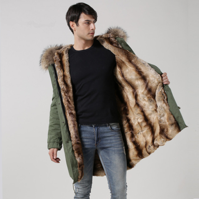 Faux Rex rabbit fur fashion mens long style parka,men winter ...