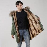 Faux Rex rabbit fur fashion mens long style parka,men winter military jacket ,rabbit Mr outwear top jacket