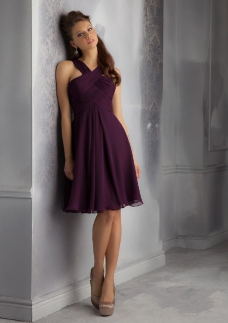 d78ce27b44d Criss Cross Knee Length Chiffon Bodice Plum Wedding Party Gowns Cheap Dark Purple  Short Bridesmaid Dresses