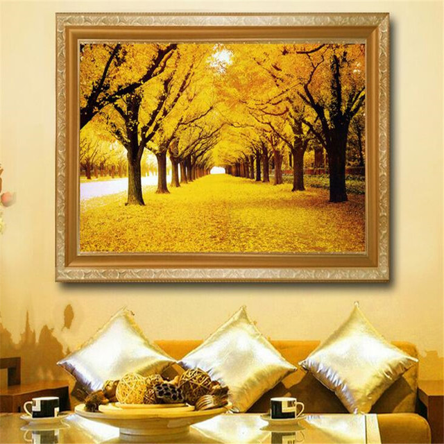 Painting For Living Room Feng Shui Rooms With Brown Leather Furniture European Landscape Paintings Entrance Bedroom Fortune Gold Avenue Tree Framed
