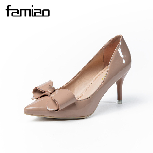 FAMIAO Women High Heel Shoes Basic Model Pumps Lady Sexy Pointed Toe Wedding  Shoes Pink Pumps Handmade 2017 party shoes c3a7d2a06a30