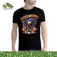футболка estevan oriol america s game charcoal 3xl Born Free Eagle America Men T-shirt S-3XL New  T Shirts   Tops Tee New Unisex Funny High Quality Casual Printing 100% Cotton