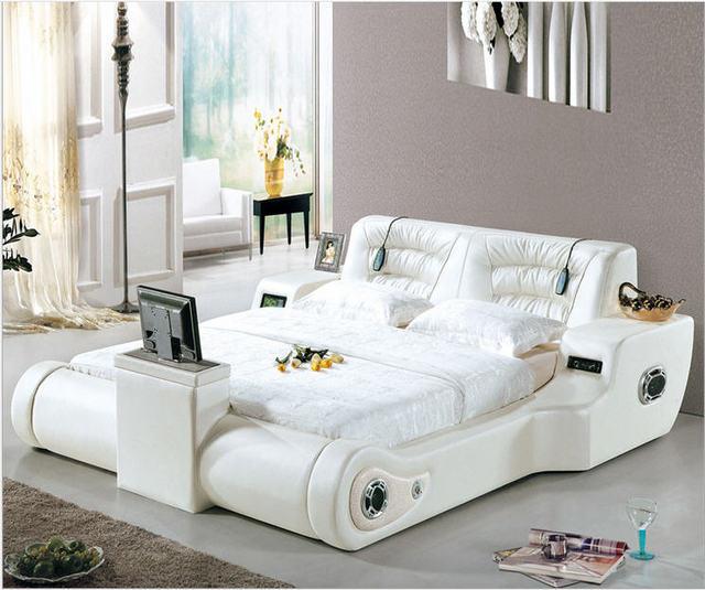 Real Genuine leather bed TV Soft Beds Bedroom camas lit muebles de dormitorio yatak mobilya quarto massage speaker bluetooth