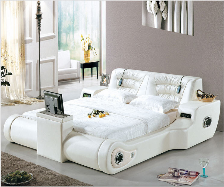 Real Genuine Leather Bed TV Soft Beds Bedroom Camas Lit