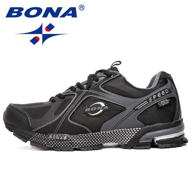 BONA Novo Estilo À Prova D' Água Homens Running Shoes Walking Ourdoor Tênis Rendas Até Sapatos Esportivos Confortáveis Luz Transporte Rápido Livre
