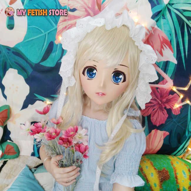 (Laranja-01) feminino Sweet Girl Resina Metade Cabeça Dos Desenhos Animados Kigurumi Cosplay Máscara Máscara de Papel Anime Japonês Lolita Travestir Máscara de Boneca