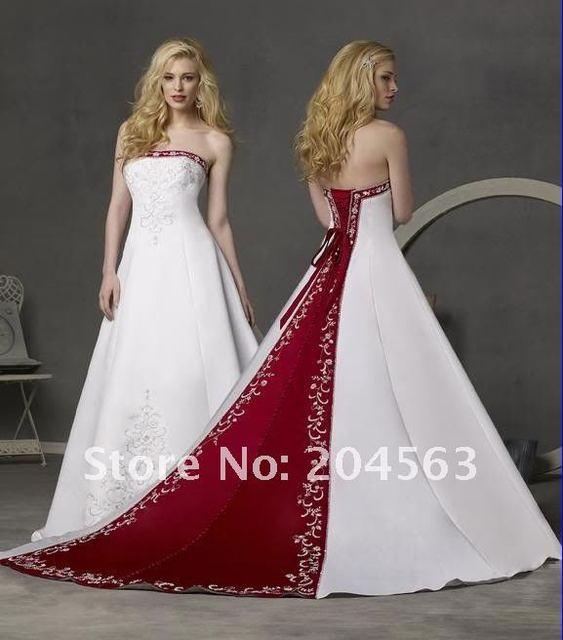 Trouwjurk Rood Met Wit.Prachtige Strapless Een Lijn Bruids Jurk Rode En Witte Borduurwerk