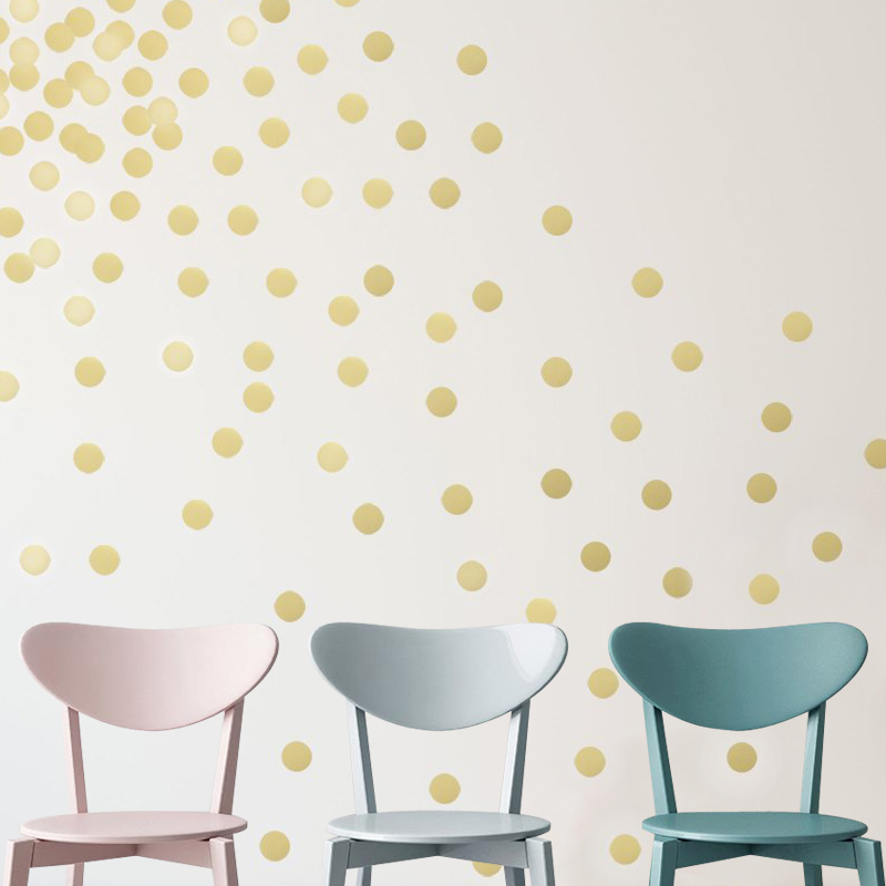 Removable peel and stick gold metallic vinyl polka dot for Polka dot wall decals for kids rooms