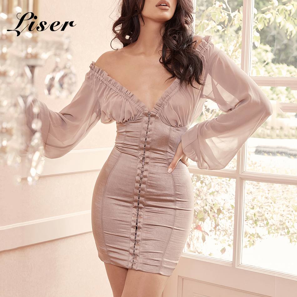 Liser 2019 New Summer Women Dress V Neck Long Sleeves Dress Sexy Bodycon Chic Celebrity Party Apricot Dresses Vestidos Wholesale