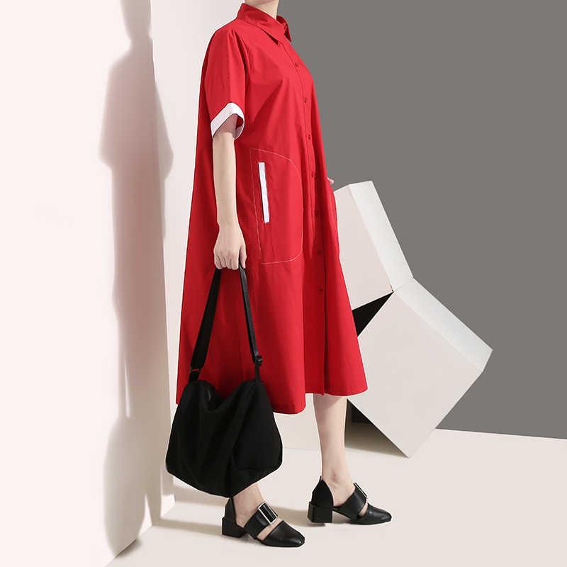 Женское платье с отворотами, повседневное трапециевидное красное платье-рубашка до колен с короткими рукавами, модель 5129 большого размера в корейском стиле на лето, 2019