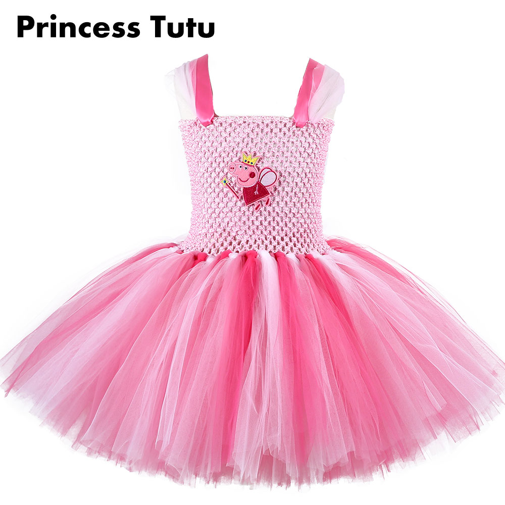 Inspired Pink Color Knee Length Little pig Piggy Girl Carton Cosplay Tutu Dress Birthday Party Custom For Photos 2016 crazy birds movie green bomb pig piggy red stella chuck matilda pink bird minifigures toy cartoon compatible lego birthday