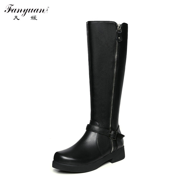 ФОТО New Arrival 2017 Spring/Autumn Women Riding Equestrian Boots Zip with Buckle Low Heel Black Boots Girls' Leather Mid-Calf Boots