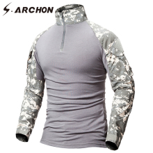 S.ARCHON Military Camouflage Shirt Men Multicam Uniform Tactical Long Sleeve T-Shirt Airsoft Paintball Clothes Army Combat Shirt