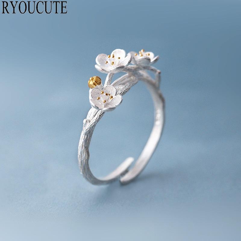 Огромные индивидуальные серебряные кольца с цветком сливы для женщин Регулируемый размер кольца на палец