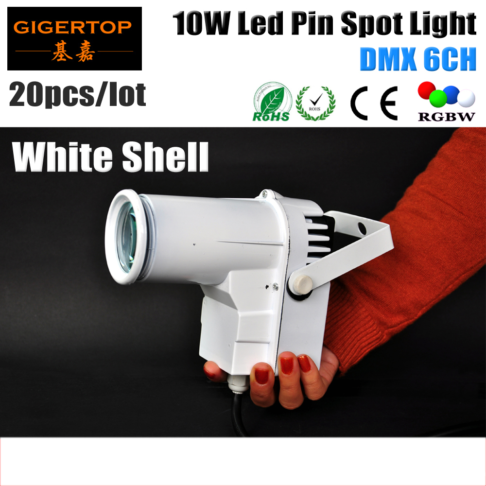ФОТО Freeshipping 20XLOT 10W Full Color Pin Spot RGBW LED DJ Effect Light Party White Housing Stage Lighting DMX 6CH Glass Ball Light