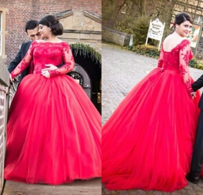 High Quality Red Long Sleeve Plus Size Wedding Dresses Wedding Dress