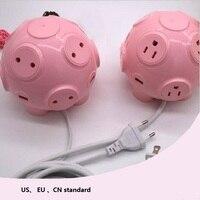 Cute pig shaped Power strip 4USB Ports quick charge Smart socket high power EU US plug Vertical electrical socket EU USAU plug