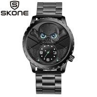Skone Men 2018 New Creative 3D Punk Skull Watch Male Full Stainless Steel Quartz Wrist Watches Black Owl Clock Relogio Masculino