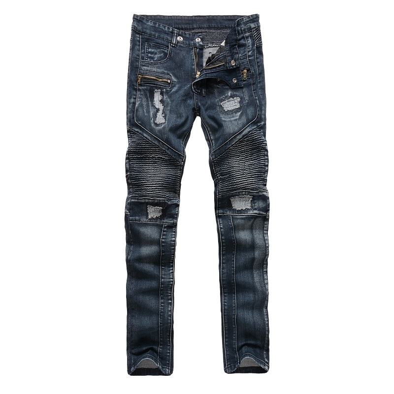 New Dropshippin Straight Slim Biker Stretch jeans high quality Rap  Moto Ripped Denim Fabric Men Skinny Khaki Blue Slim Trousers