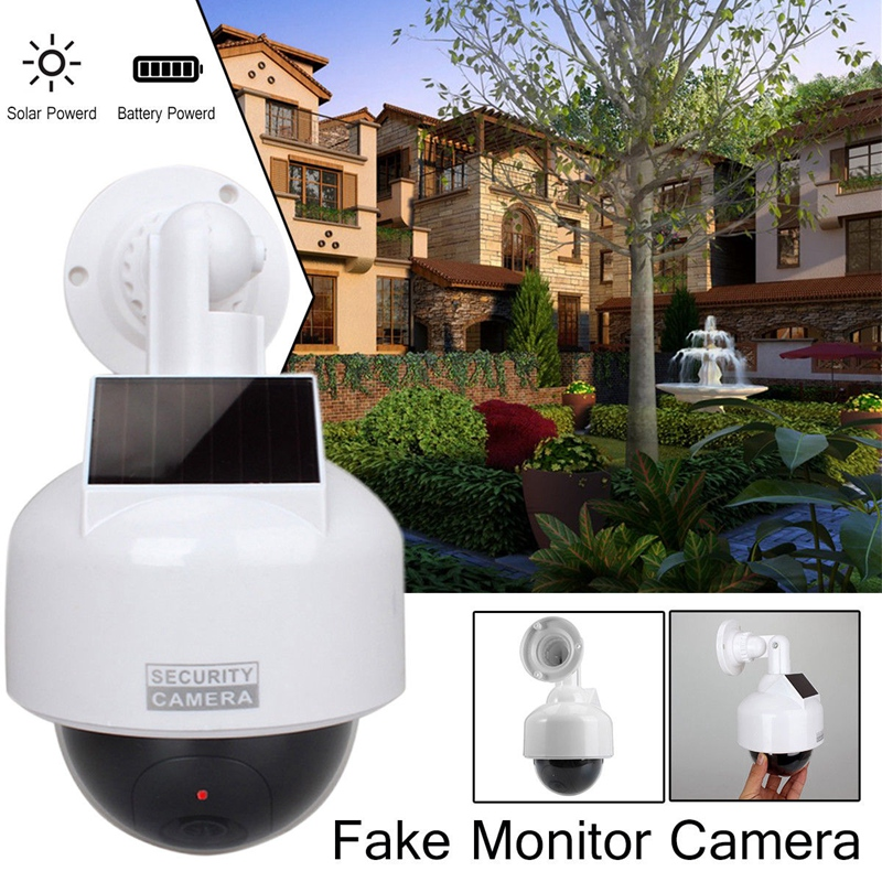 Solar Powered fake cameras Dummy CCTV Camera security Waterproof with LED Lights image
