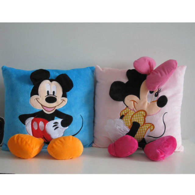 acda2a572 35 cm 3D Criativo Mickey Mouse e Minnie Mouse De Pelúcia Travesseiro Kawaii  Mickey e Minnie