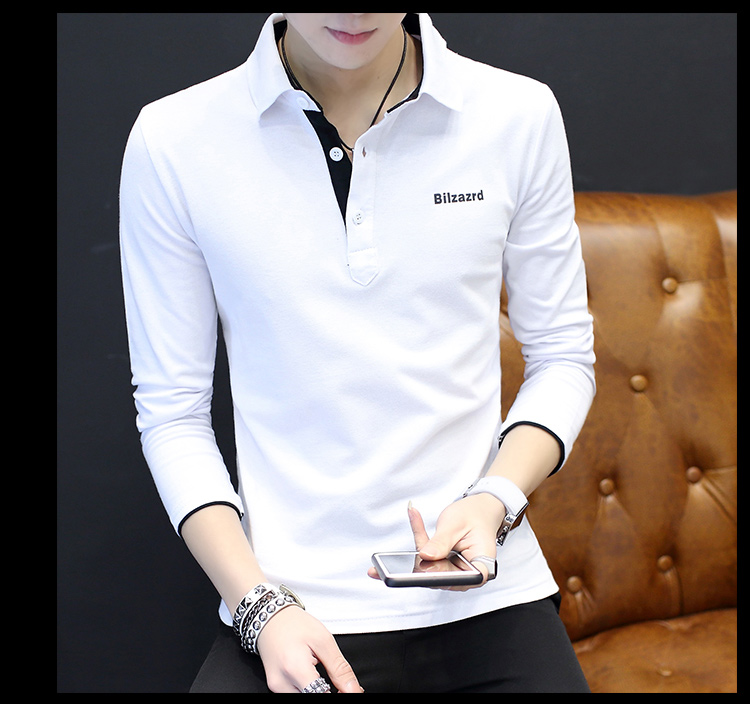 2019 men splicing t-shirts with short sleeves Comfortable in summer youth leisure lapel t-shirts 46