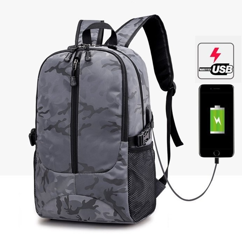 Laptop Backpack USB Charging Backpacks Men School Bag for College Student Bagpack Camo Printing Oxford Teenager Knapsack Bolsas