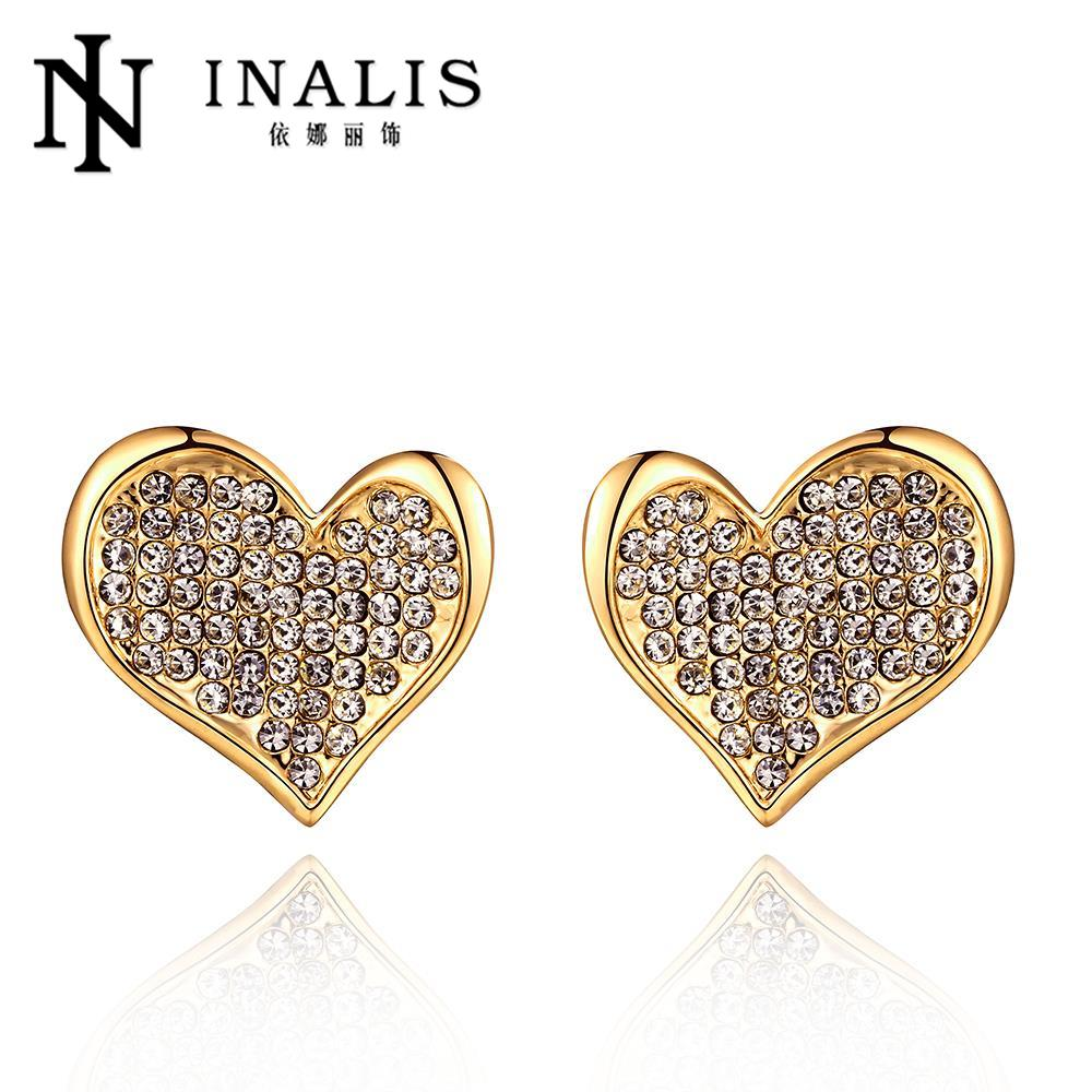 2016 Gold Color Ear Studs Hollow Out Flower Stud Earring For Women Girl Big  Party Jewelry