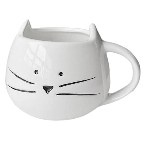 SZS Hot Coffee Cup White Cat Animal Milk Cup Ceramic Lovers Mug Cute Birthday gift,Christmas Gift Black/White