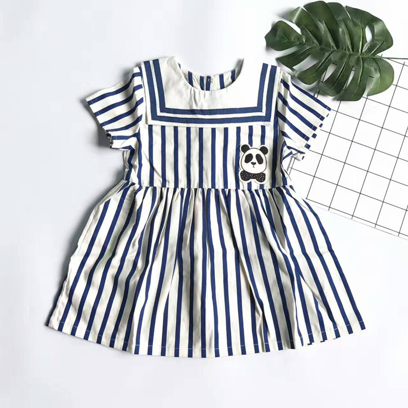 2017 new blue white striped dress for girls kids clothing cotton