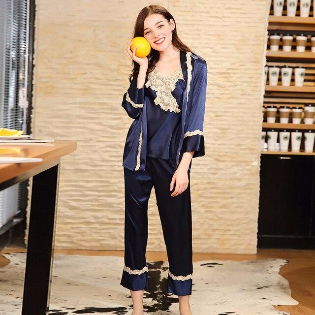 Pieces Pajama Sleepwear Robe 3 Brand In 26 Pyjama Pajamas Camisole Femme 45Off Sexy ps0143 Women Satin Silk Lady Us24 Pants Set Lingerie Lace srCthQxd