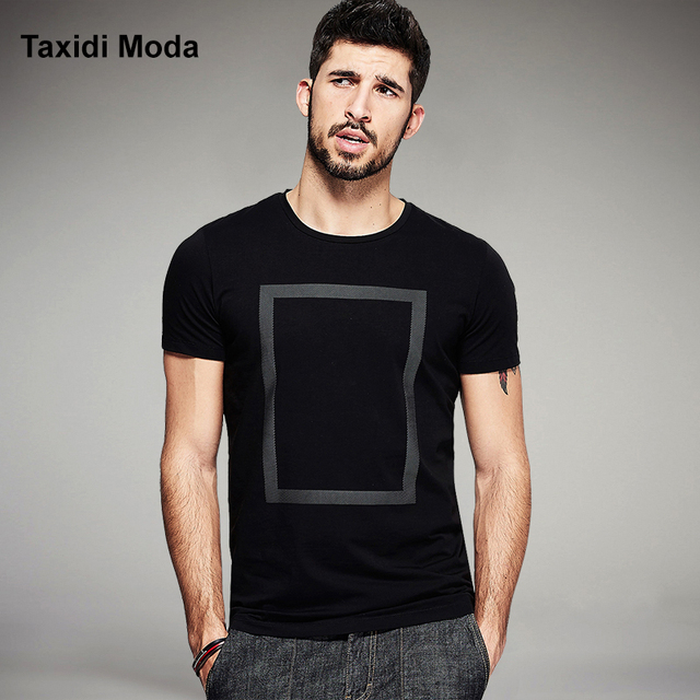 2017 Summer Mens Fashion T Shirts Print Black White Brand Clothing For Man's Short Sleeve Slim T-Shirts Male Plus Size Tops Tees