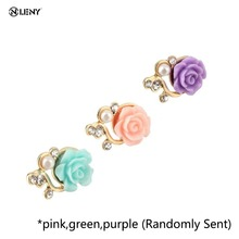 ONLENY Universal Rose Flower Anti Dust Plug For 3.5mm Mobile Phone Accessories Headphone 3D Crystal Bead Pear For iPhone 5 5s 6