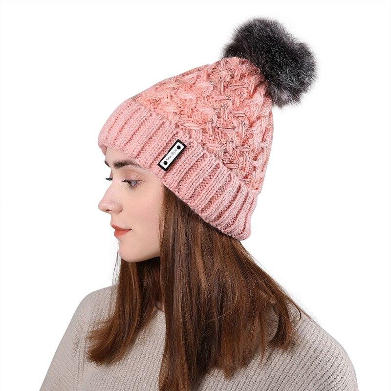 Winter Double Layer Knitted Wool Fur Pompon Hats Female Braid Ladies Cap Headgear For Women   Skullies     Beanies
