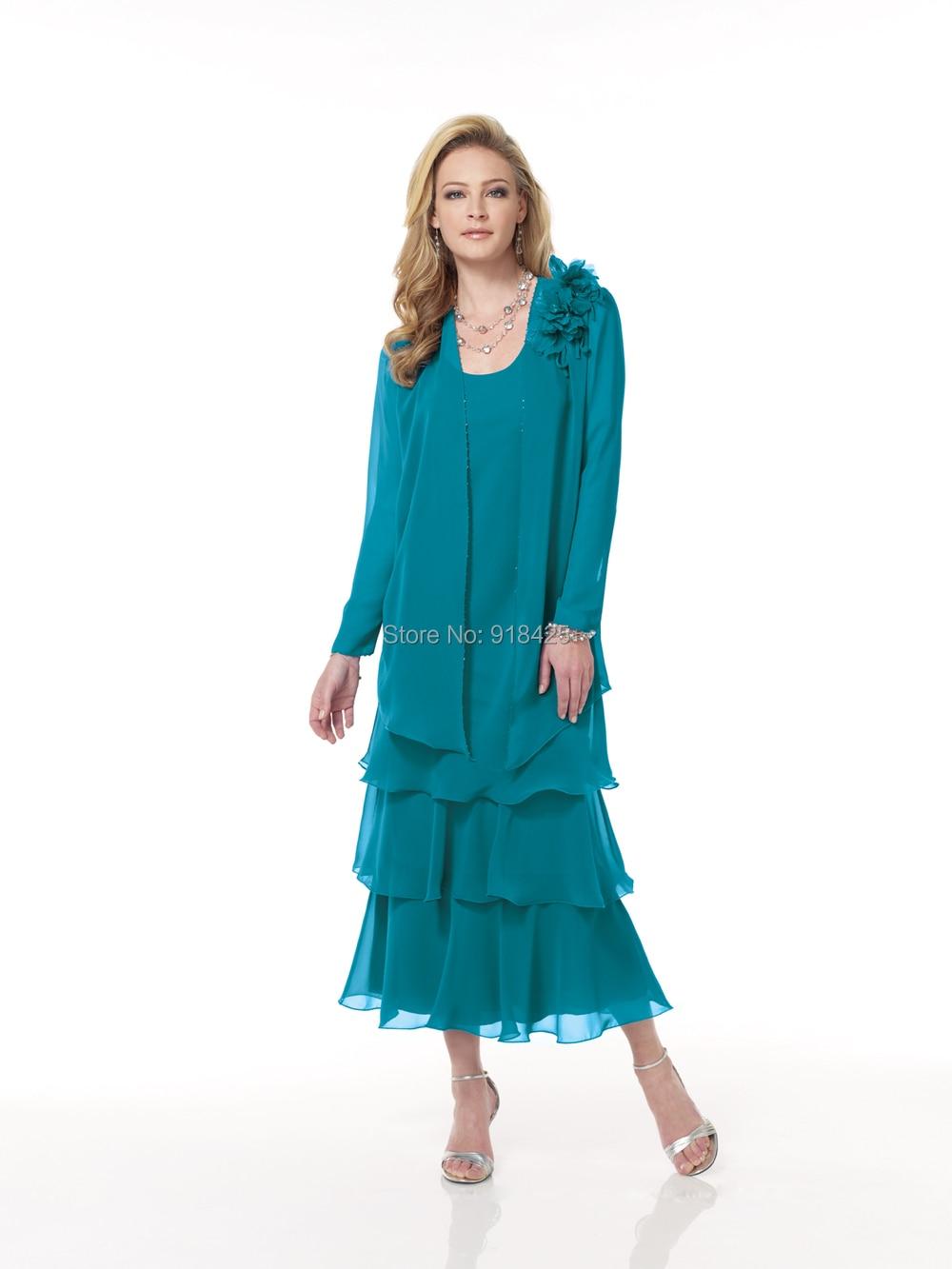 Modern Chiffon Mother Of The Bride Dresses Tea Length Pattern - All ...