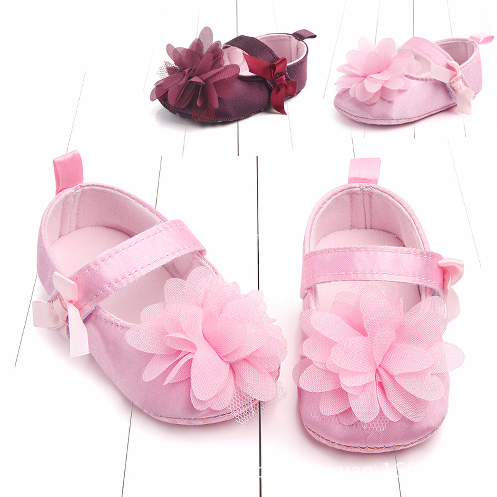 0 12 Months Baby shoes Spring and autumn Bow flowers princess shoes Baby soft anti slip toddler shoes Baby casual shoes in First Walkers from Mother Kids