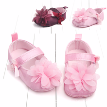 0-12 Months Baby shoes Spring and autumn Bow flowers princess soft anti slip toddler casual