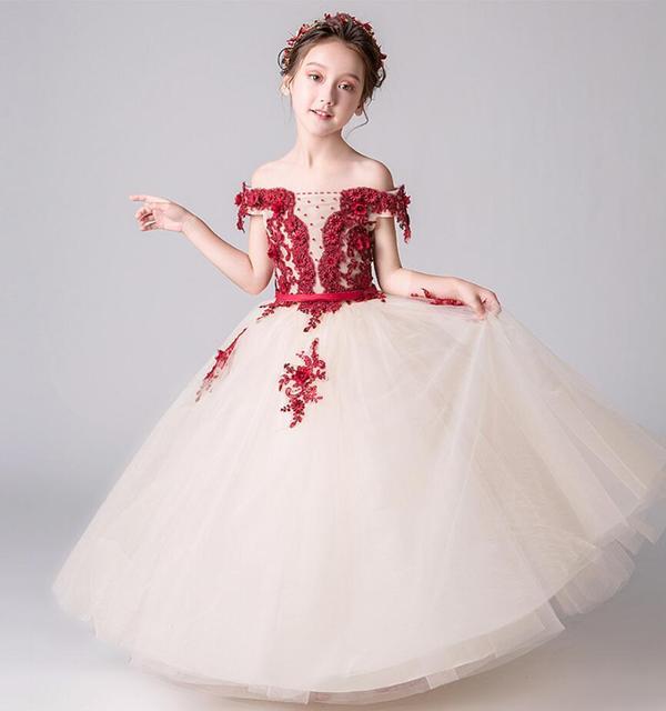 Embroider Girl Princess Dress Strapless Pageant Flower Tutu Dress Long Party  Wedding Gown Kid Girl Formal First Communion Dress 32f01218658d