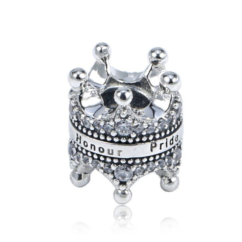 Winner Crown Honour Pride Creative Graceful Jewelry 925 Sterling Silver Charm Fitting European Famous Bracelet