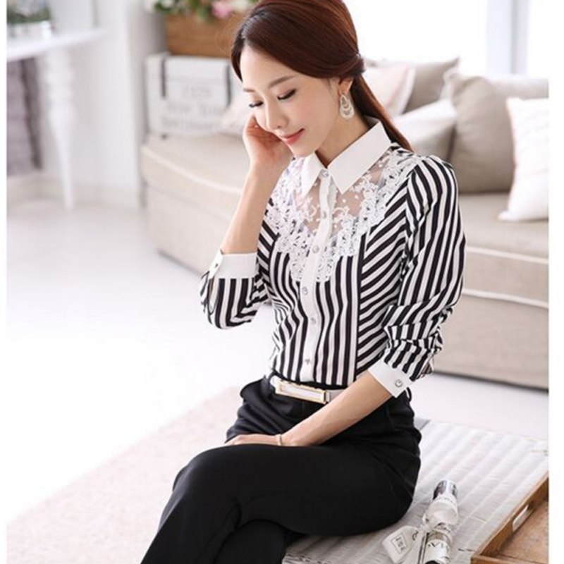 HTB190hVaIrrK1Rjy1zeq6xalFXaY - Women Blouse Long Sleeve Lace Tops Striped Turn-Down Collar Blouses Official Female Formal Shirt Spring Autumn