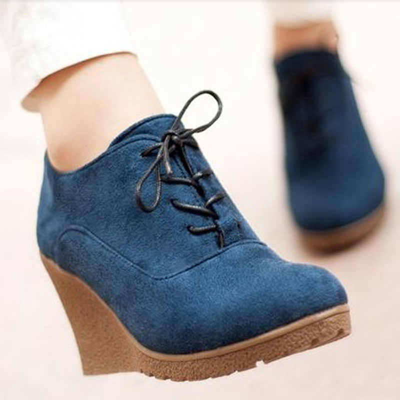Spring Women High Wedge Heel Shoes Zip Suede Lace Pumps Ankle Boots Pointy Toe
