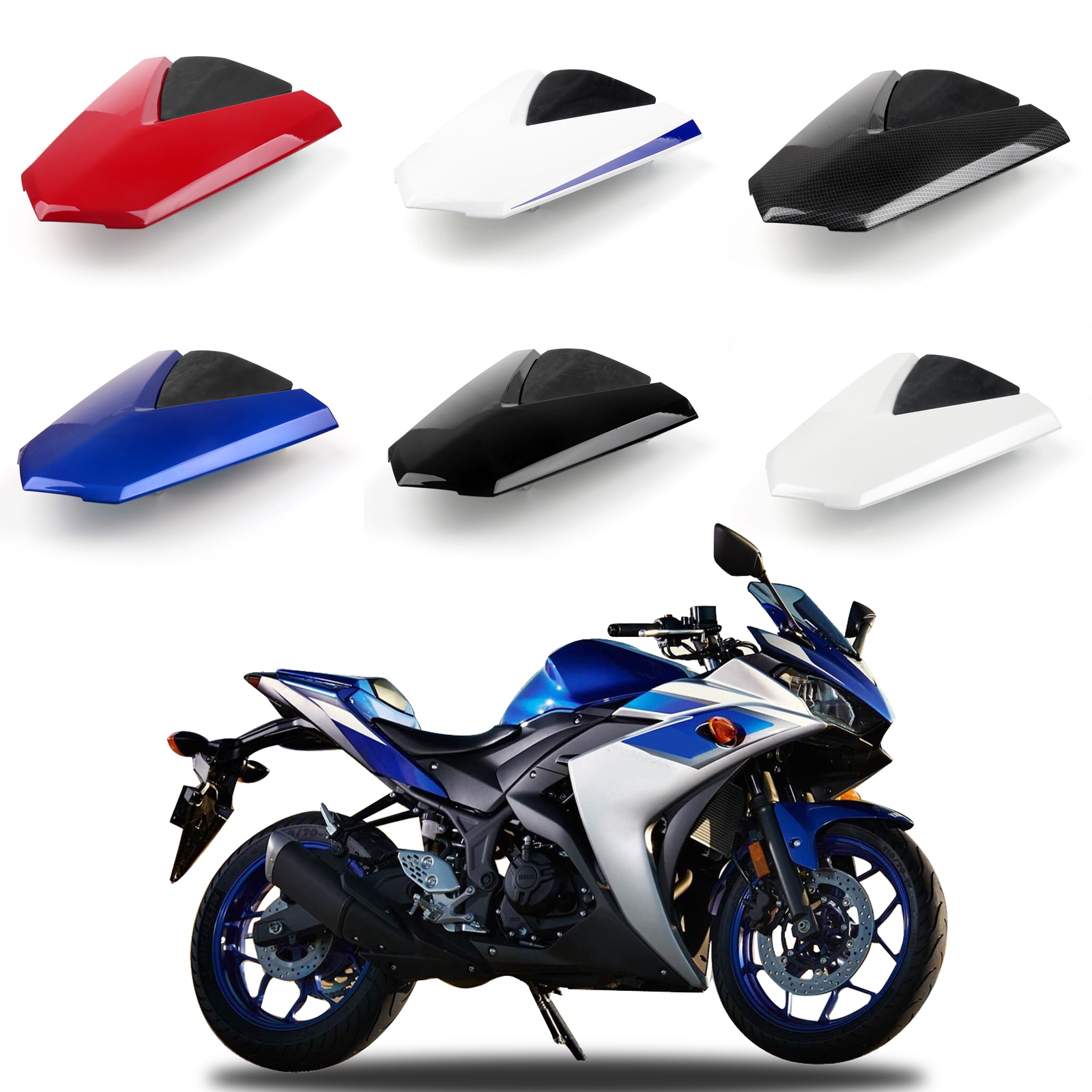 Areyourshop Motorcycle ABS Plastic Solo Rear Seat Cover Cowl For For Yamaha YZF R25 2013-2016 R3 2015-2016 MT-03 2014 Styling