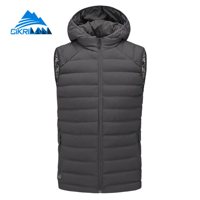 New Winter Warm Fishing Trekking Gilet Hooded Outdoor Hiking Insulated Heated Vest Men Heating Sport Climbing Camping Waistcoat