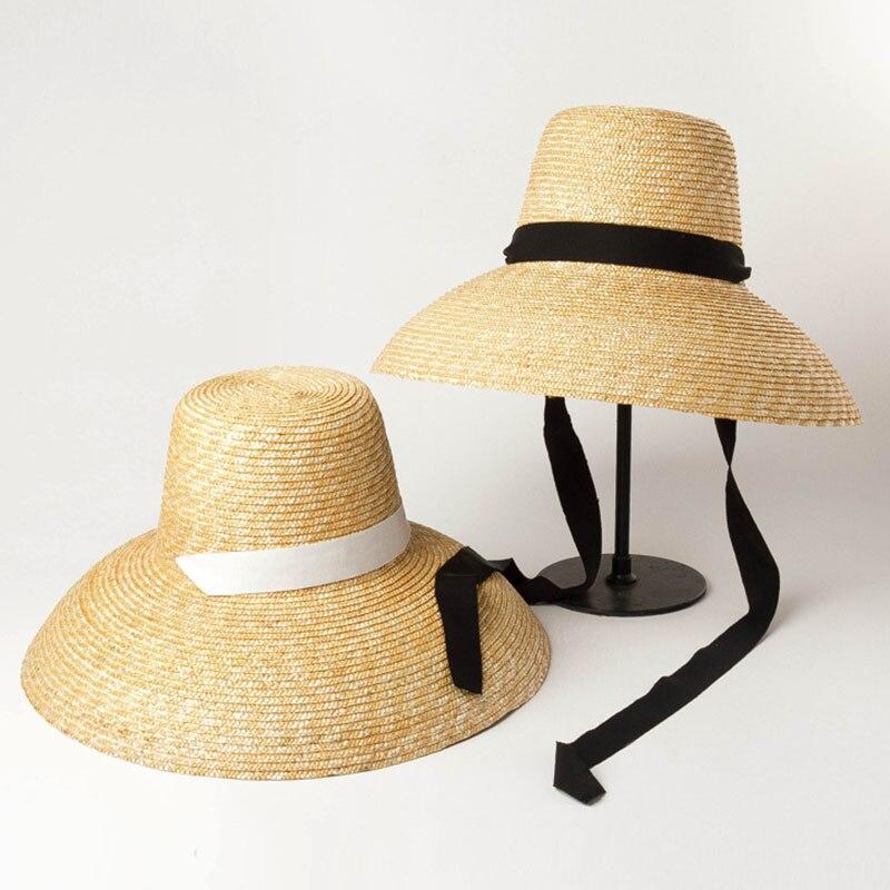 Women Summer Big Floppy Hat Wheat Straw Hat With Black White Ribbon Lace Tie 15cm Wide Brim Sun Hat UV Protection Beach Cap