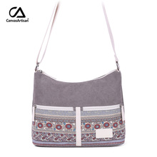 Canvasartisan brand new women's shoulder bag canvas retro style floral female daily travel messenger bag women crossbody bags canvasartisan brand new women canvas handbag top handle strip shoulder bag female daily travel tote shopping purse hand bags